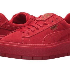 Puma Shoes - red suede puma creepers